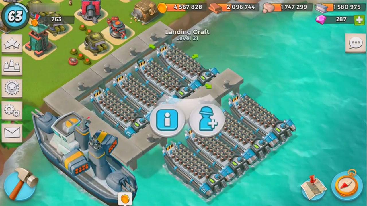 boom beach fleet of rifleman lands port