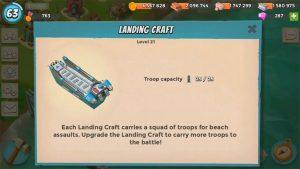boom beach landing craft capacity description