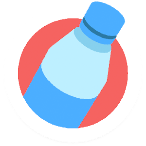 bottleflip blue bottle on a red circle