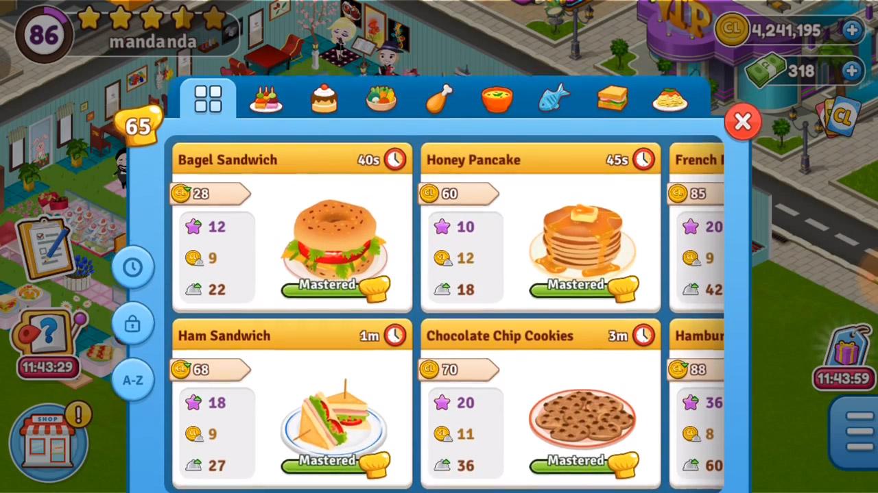 cafeland desserts and sandwich menu