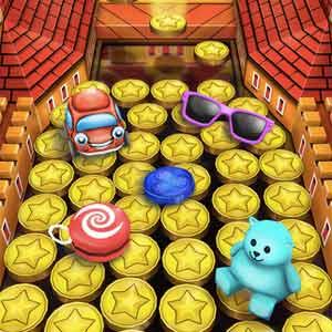 coin dozer plushy toys atop dozen gold coins