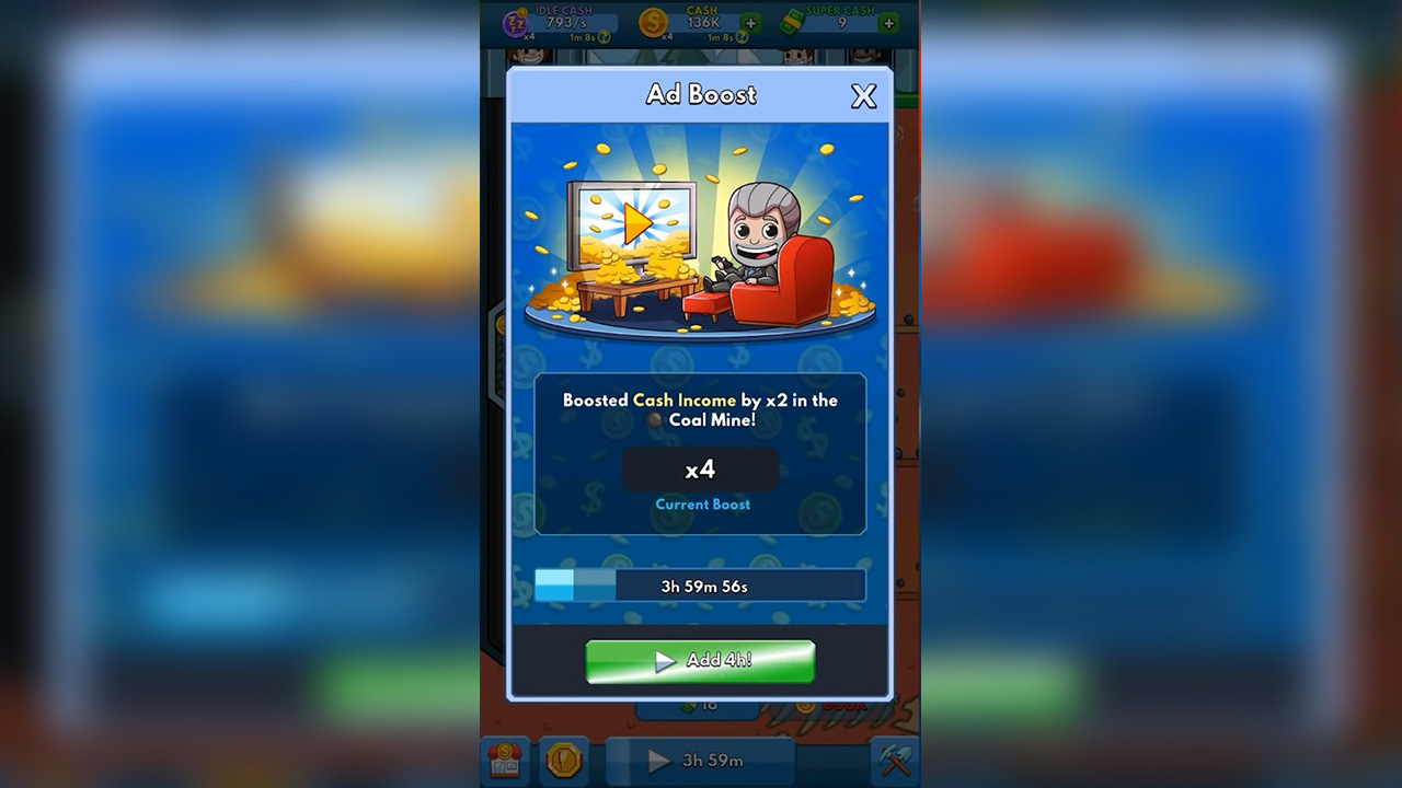 Idle Miner Tycoon Ad Boost