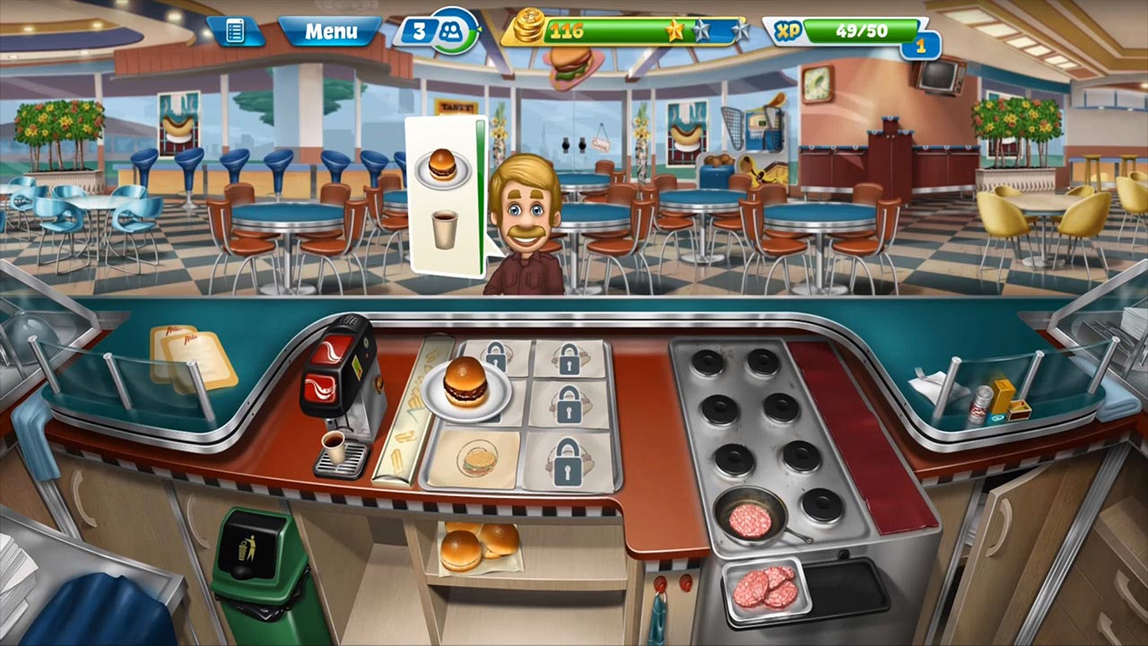 cooking fever man ordering burger and coffee