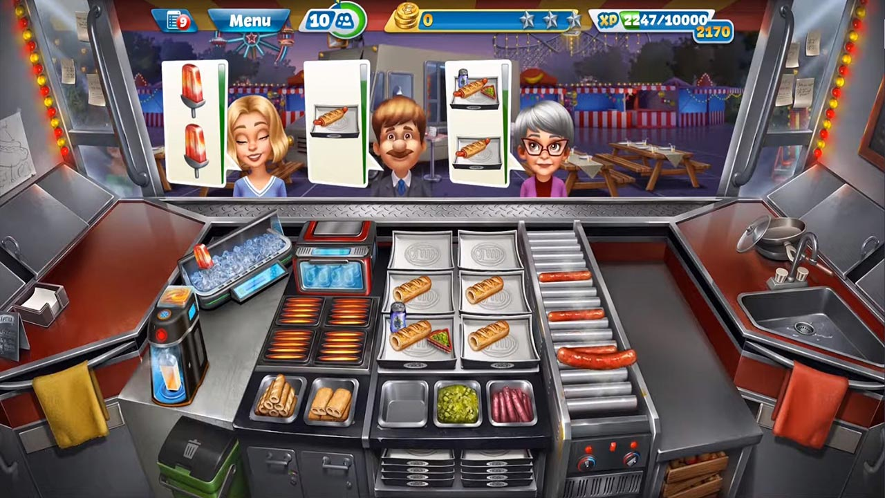 cooking fever grilling hotdogs for customers