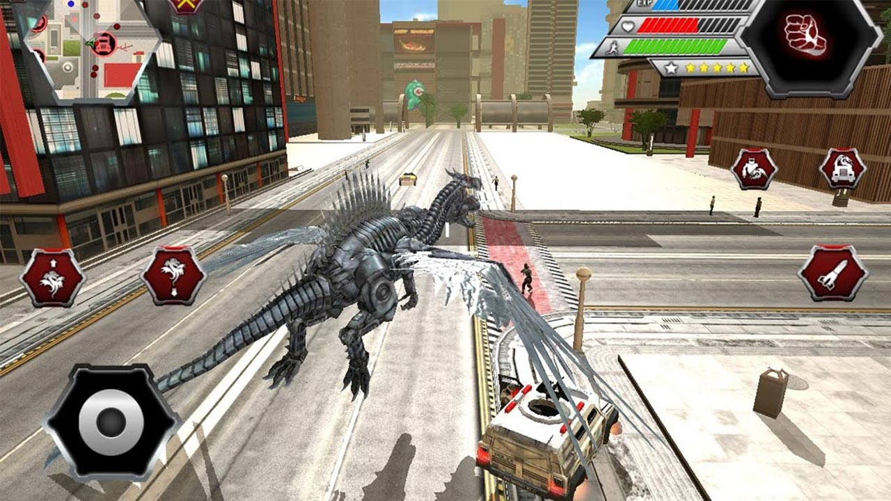 dragon robot mech dragon attacking civilians