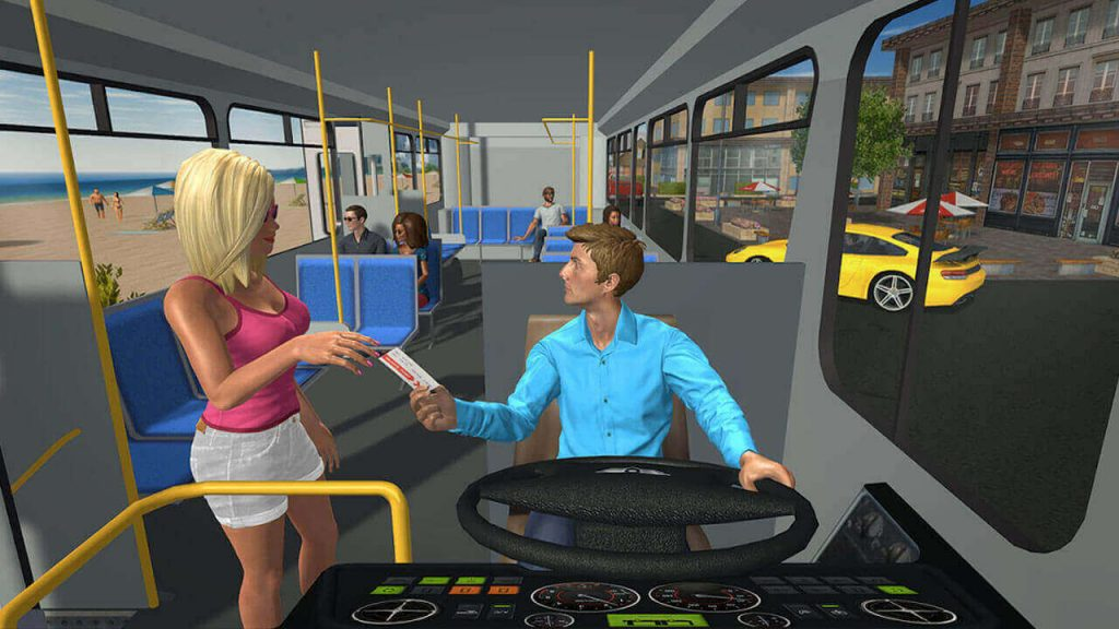 Bus Game Blonde Lady Showing Ticket