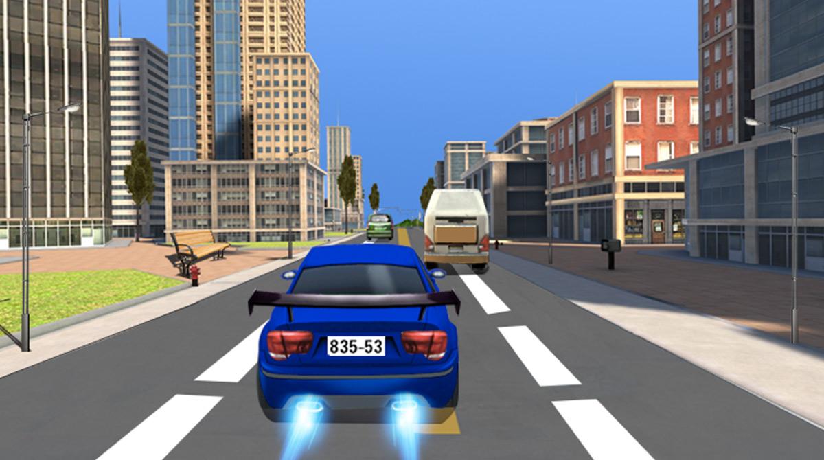 car racing blue sedan sprints