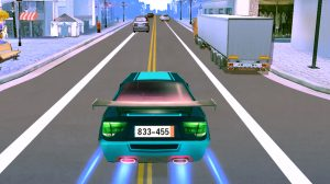 car racing blue sports car double boost