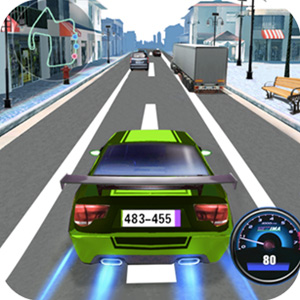car racing green indycar speeds on city street