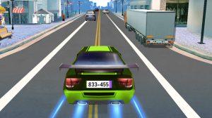 car racing green sedan booster