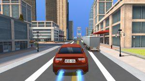 car racing maroon car cross roads