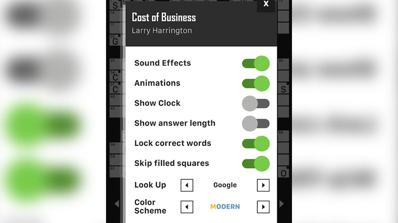 crosswordpuzzle cost of business