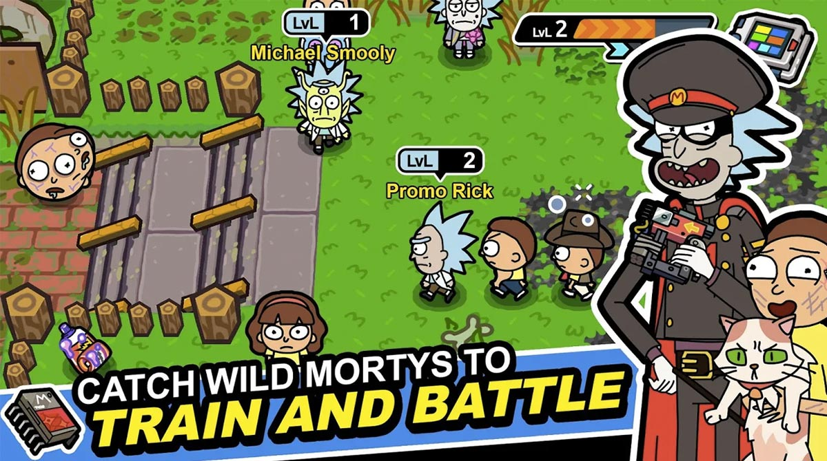 rick and morty train and battle
