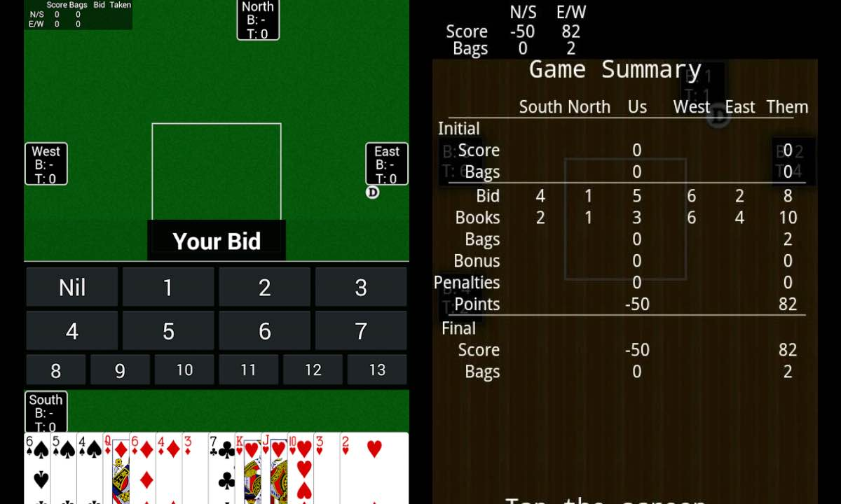 spades bid north east south