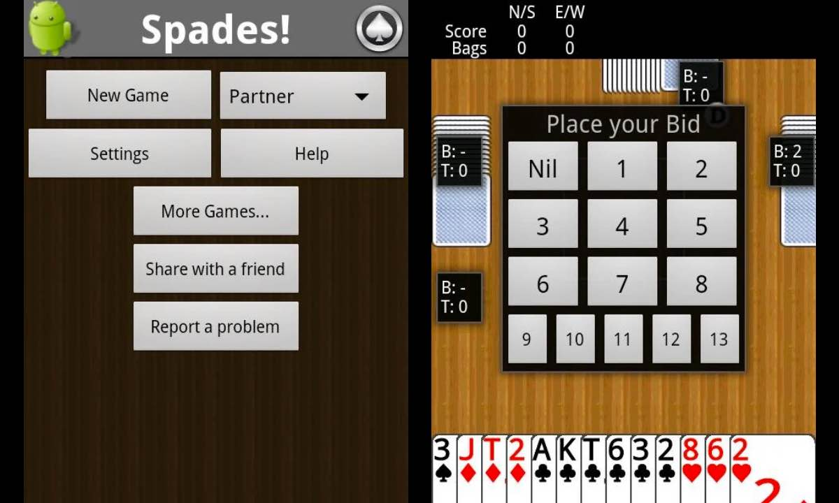 spades splash gameplay menu screen