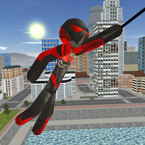 Stickman Rope Hero Red and Black Suit