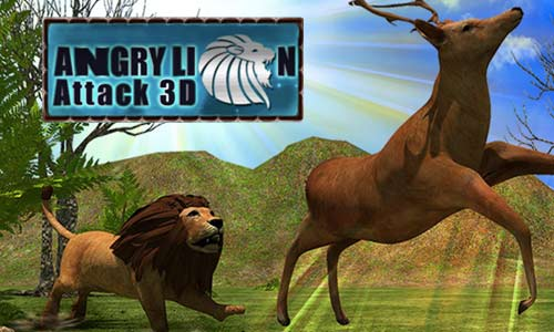 angry lion attack 3d natural hunter