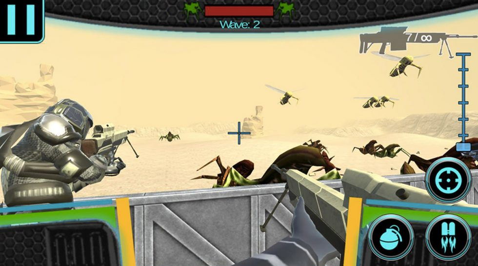 combat troopers shooting giant mantis