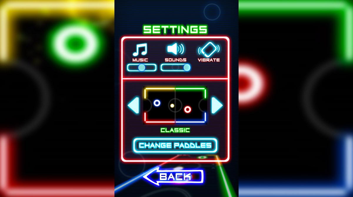 Glow Hockey Settings Menu Classic