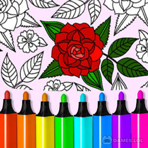 Play Adult Coloring: Flowers on PC