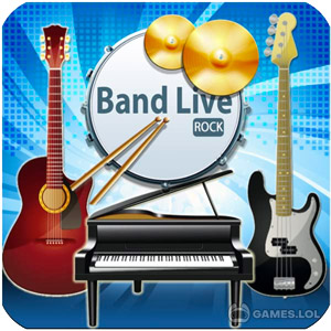 Play Band Live Rock (drum, bass, guitar, piano, mic) on PC