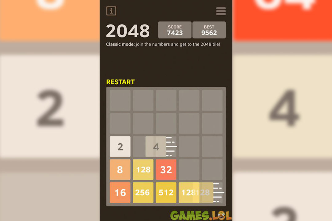 2048 number puzzle classic mode