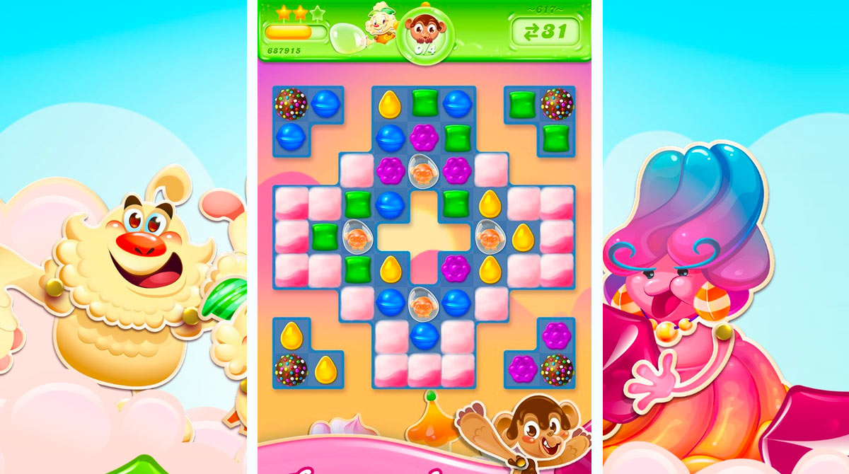 candy crush jelly saga candies in bubbles