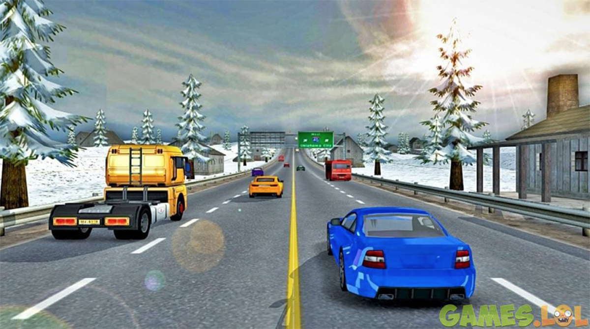 modern car winter highway