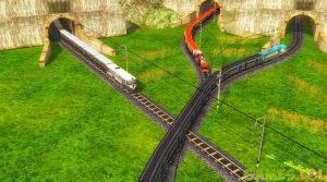 train racing three trains