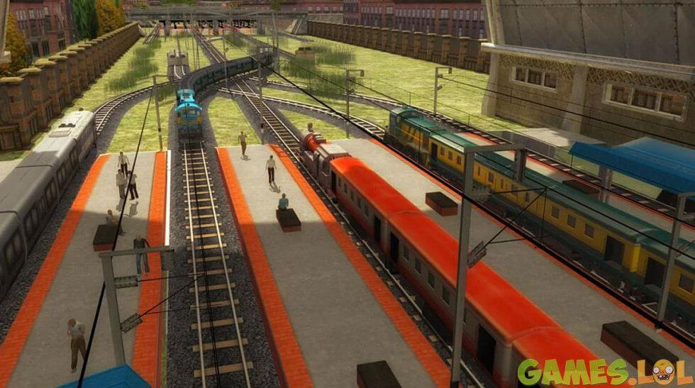 train racing train station