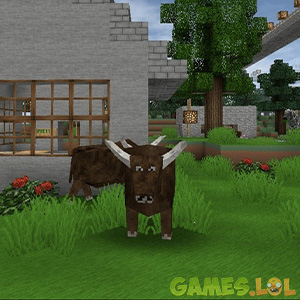 mini block craft staring cow
