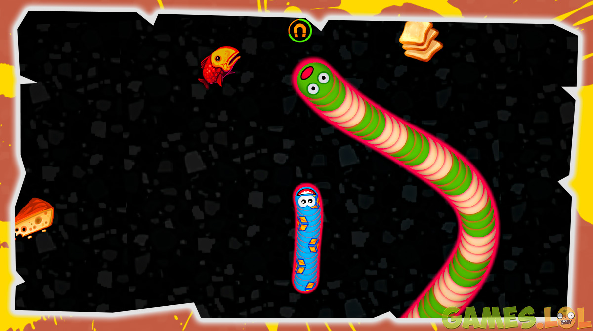 Worms Zone.io Green and Yellow Worm