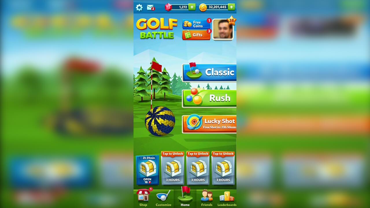 golf battle home menu classic game