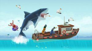 Hungry Shark Evolution Attack Fishing Boat