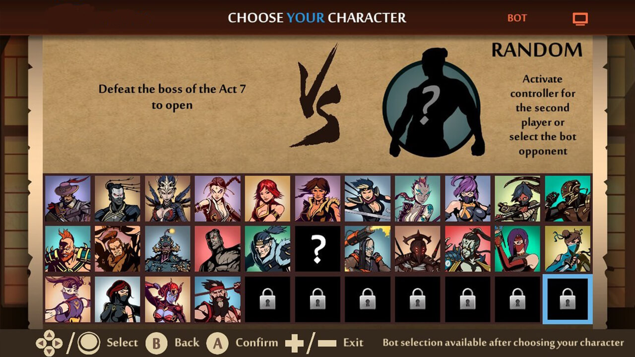 shadow fight2 choose characters