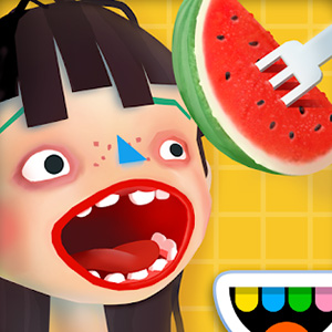 toca kitchen eating watermelon