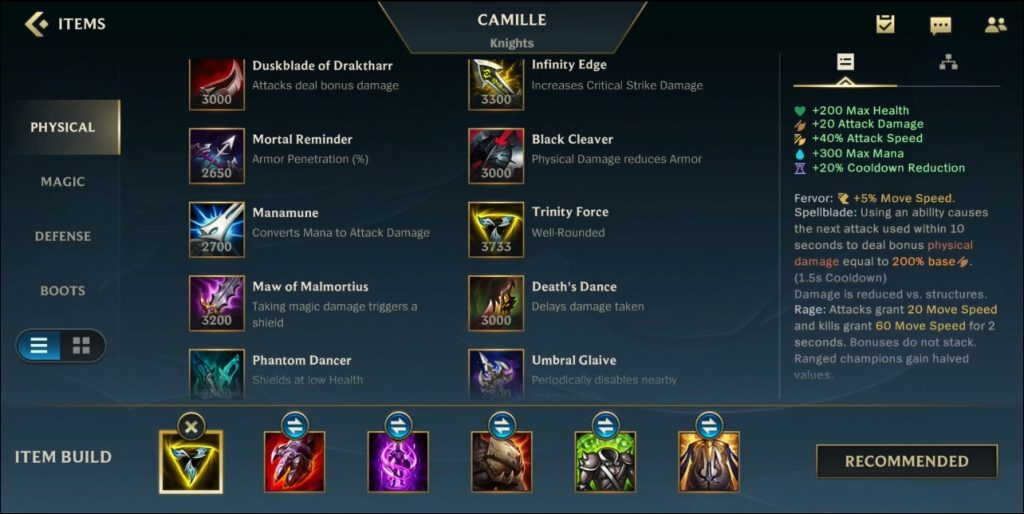Camille Wild Rift Items