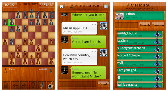 Chess Live friends and chat list