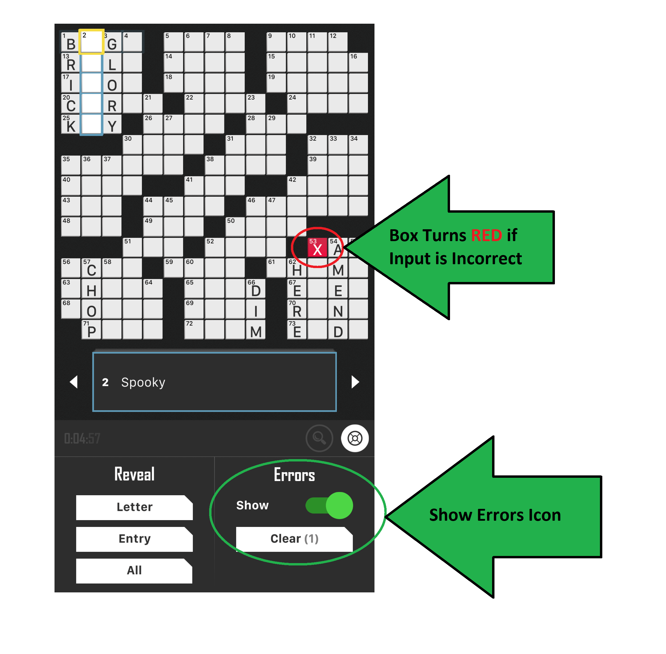 Crossword Puzzle settings box turns red errors