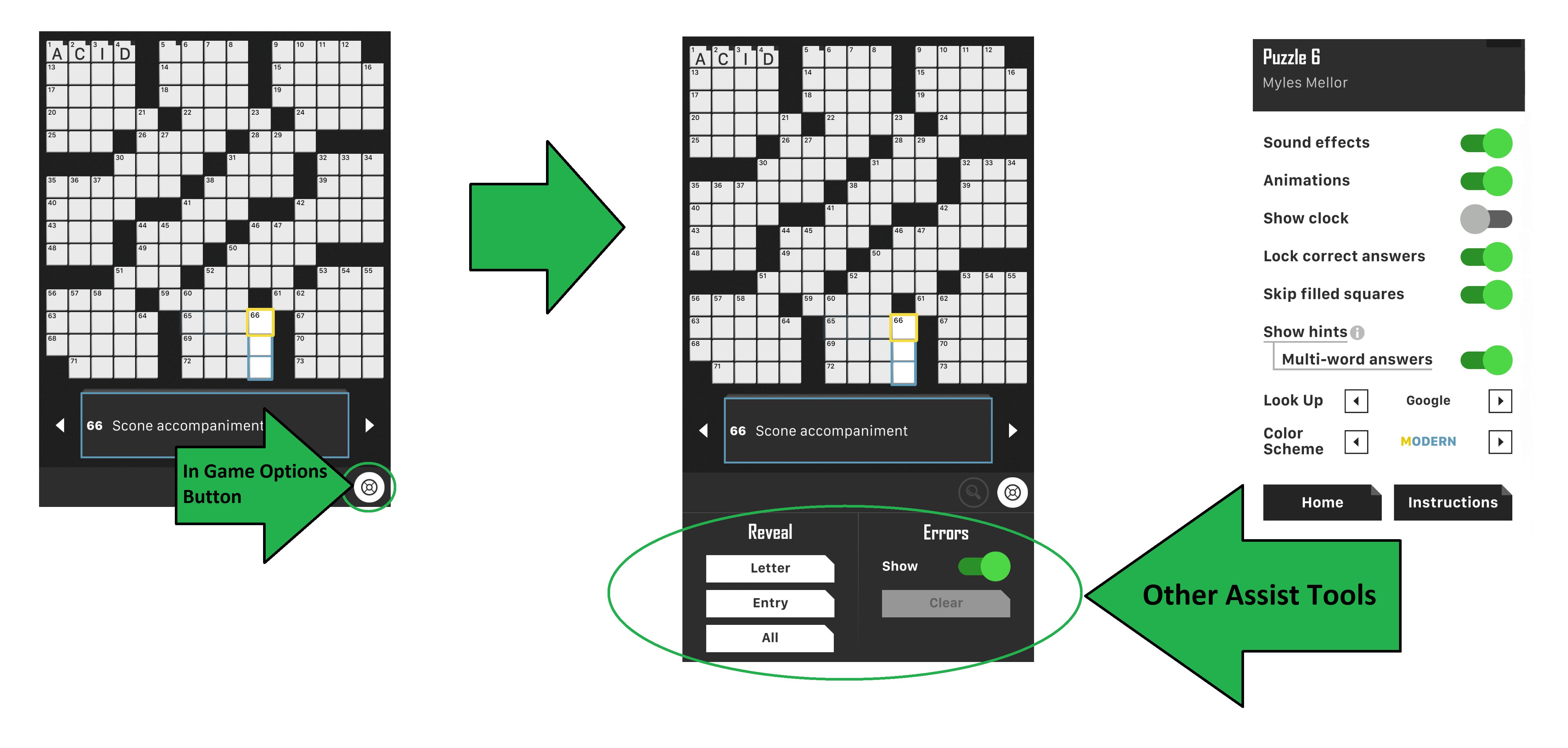 Crossword puzzle 3 interfaces to play