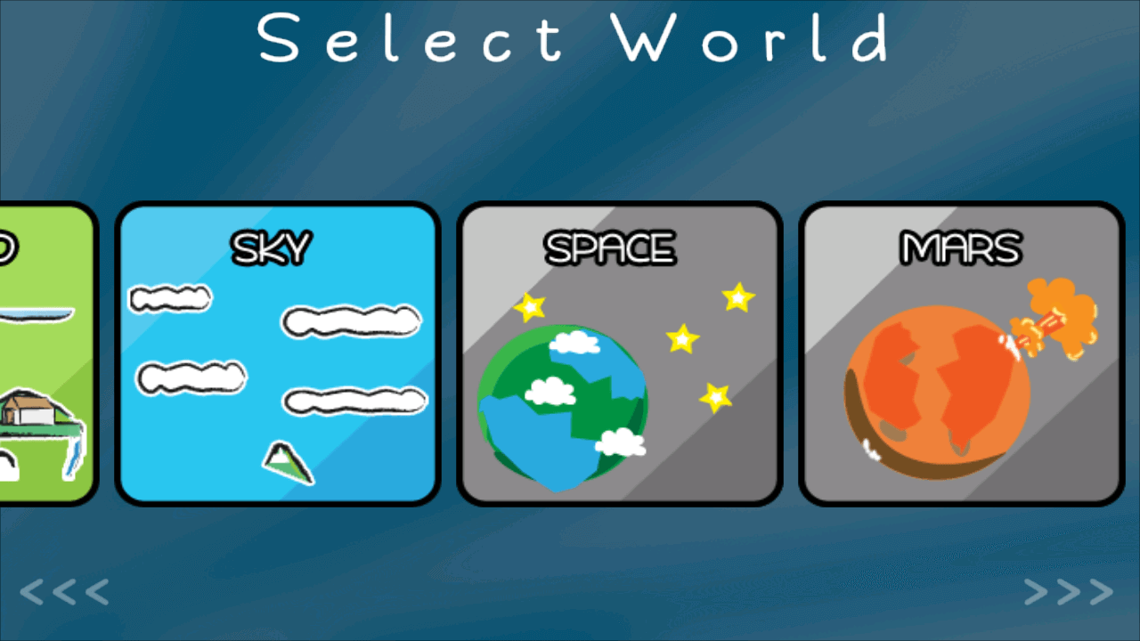 bouncy ball world selection menu
