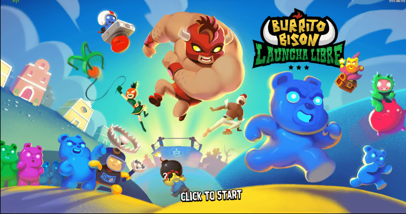 burrito bison jumping elbow drop on blue bear
