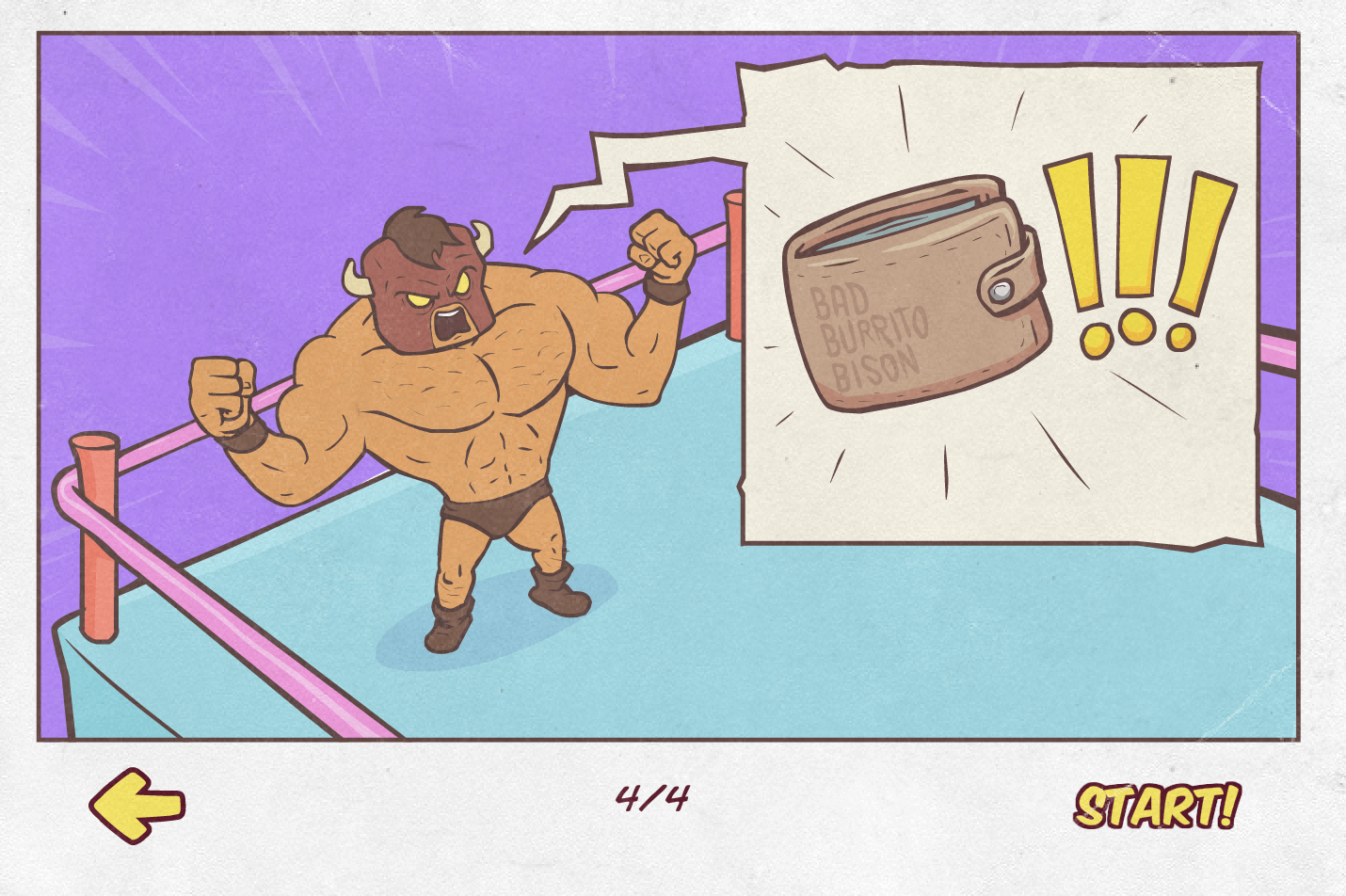 burrito bison in the ring shouting wallet