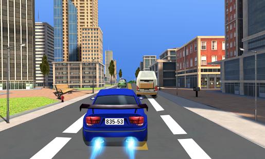 car racing blue car blitz road
