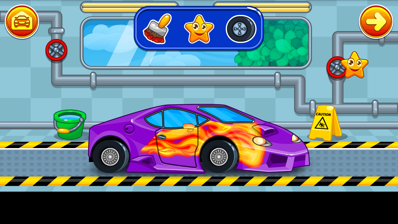 car wash flame painted sports car