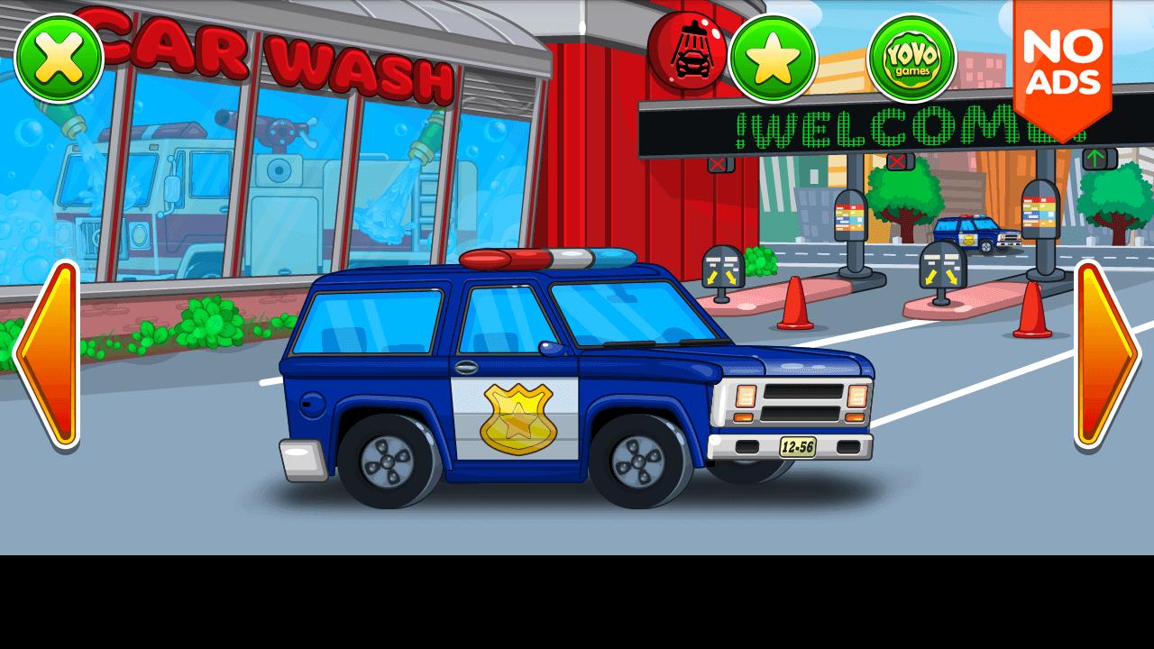 car wash blue police car