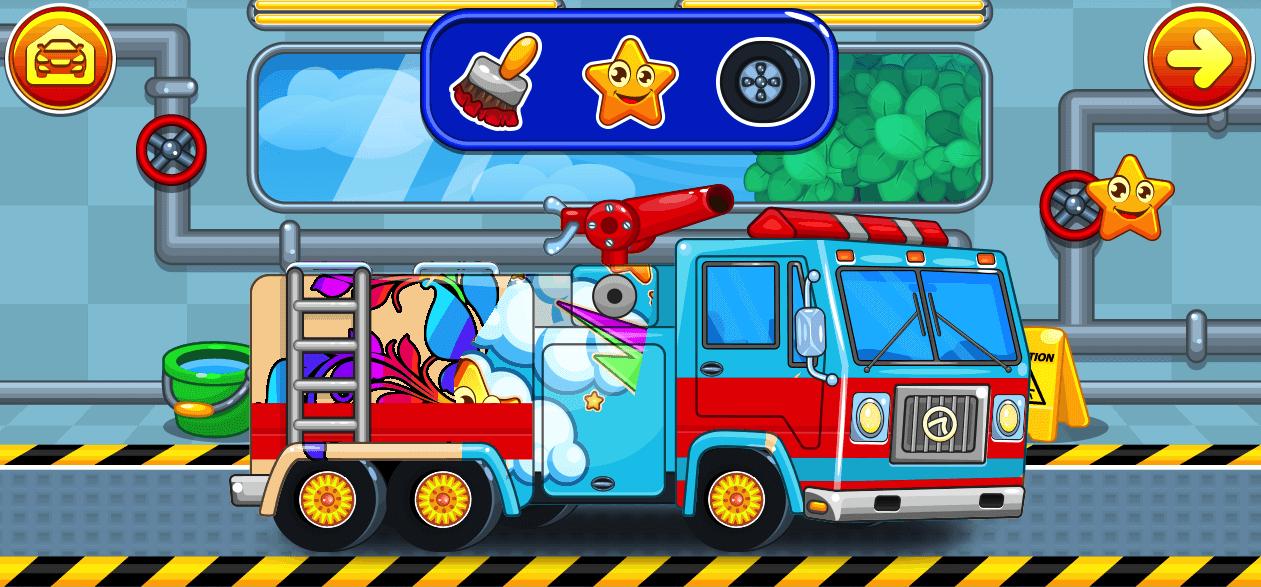 car wash fire truck washing