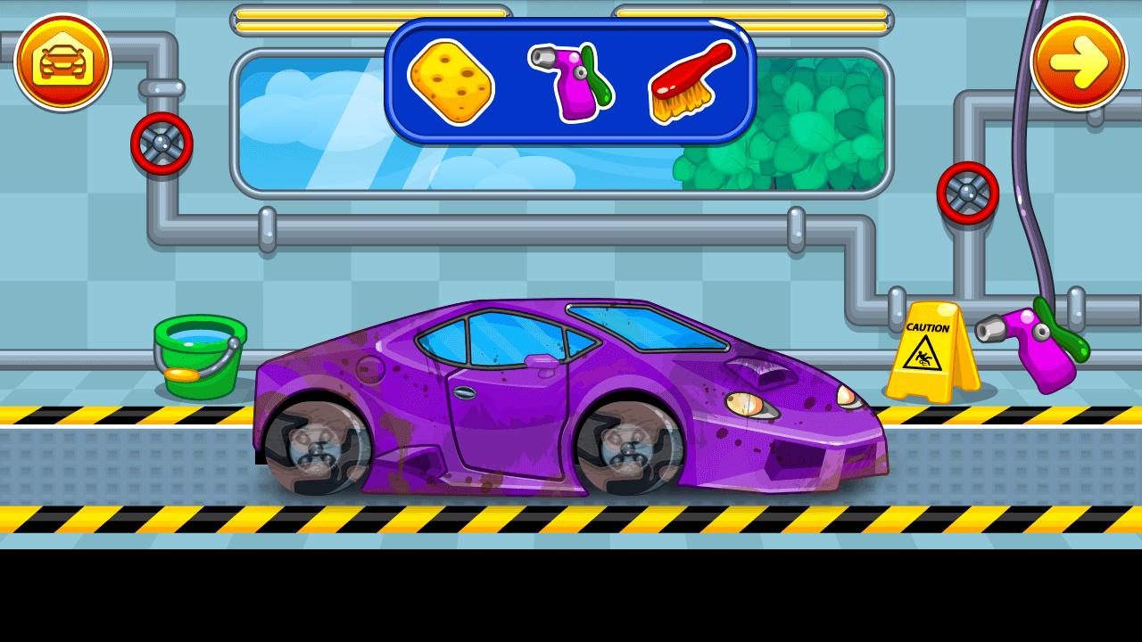 car wash dirty violet sports car