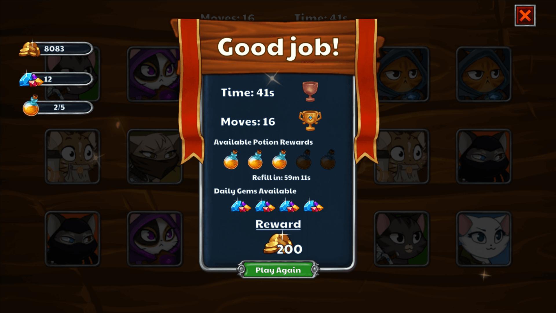 castle cats gem reward for a good job