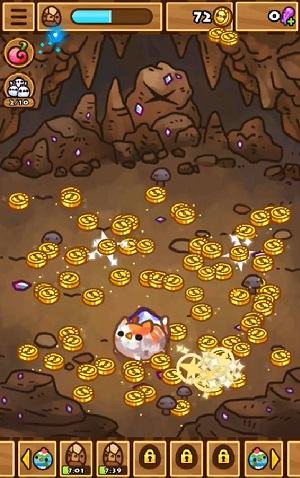 chichens cat picking gold coins
